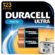Duracell® DL123AB2PK Cylindrical Battery, Lithium-Manganese Dioxide, 3 V, 1500 mAh, 123A, 3.2 - 3.3 VDC Charge